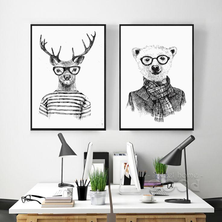 Main dessiner Des Animaux Toile Art Print Affiche, cerfs Et Ensemble de L'ours Polaire Mur Photos pour La Décoration, giclée Mur Décor DE009