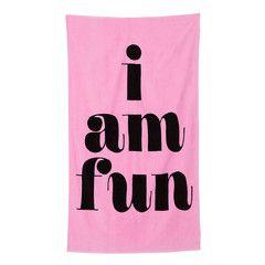 beach, please! giant beach towel - i am fun, hot pink