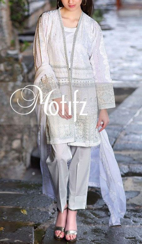 Buy White Embroidered Cotton Lawn Dress by Motifz 2016 www.pakrobe.com Call:(702) 751-3523 Email: Info@PakRobe.com www.pakrobe.com/... #DESIGNER #LAWN #DRESSES