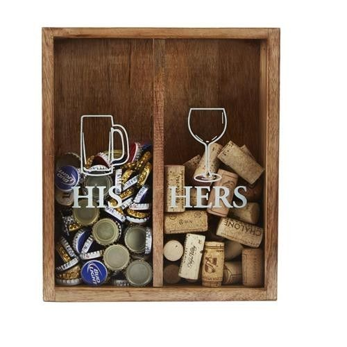 """Wood and glass display box features easy drop-slot on top to showcase the beer enthusiast's bottle cap collection on """"HIS"""" side and the wine ethusiast's cork collection on """"HER"""" side. Hangs on wall or"""