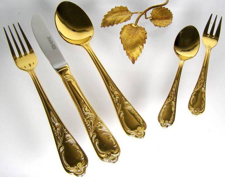 NIVELLA Goldbesteck 23/24 Karat hartvergoldet  70 tl.- 12 Pers. Diplomatenkoffer