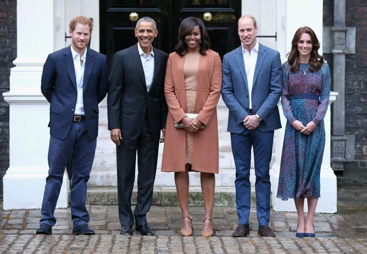 "The Royals Meet the Obamas! Prince William and Duchess Catherine hosted President Barack Obama and First Lady Michelle Obama for a private dinner at their home at Kensington Palace in London on April 22, 2016. We couldn't get over how ""normal"" their home looked inside -- and how Prince George stole the show in a bathrobe featuring his name as he shook hands with the president. Prince Harry, Barack Obama, Michelle Obama, Prince William, and Duchess Catherine - Getty Images North America"