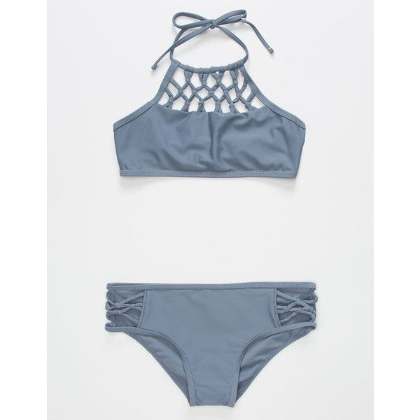 Damsel High Neck Girls Bikini Set (€33) ❤ liked on Polyvore featuring swimwear, bikinis, halter bikini, hipster bikini, crochet halter top, halter bikini tops and halter top