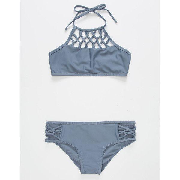 Damsel High Neck Girls Bikini Set (€33) ❤ liked on Polyvore featuring swimwear, bikinis, halter bikini, hipster bikini, crochet halter top, halter bikini tops and halter top