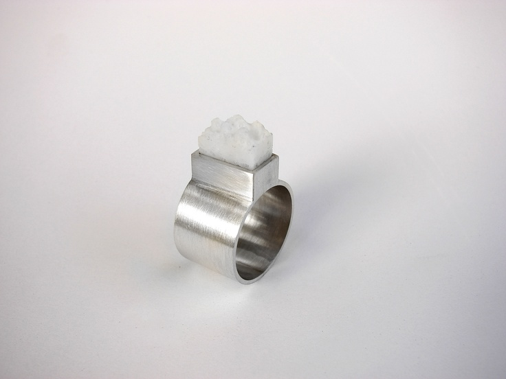 Andra Lupu - silver and white coral ring