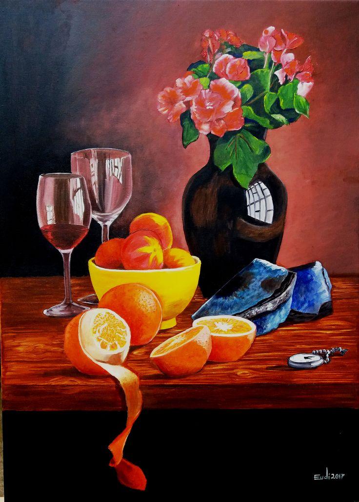 Eudi  Cea bodegón Flores y frutas óleo  sobre tela de 50 x 70 cms. ORIGINAL (a partir de foto). ¡Felicitaciones! es el primer cuadro de Eudi en el Taller y en su vida!! ¡bien!