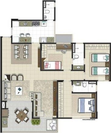 294 best planos images on Pinterest Little houses, Small homes and - plan maison plain pied 80m2