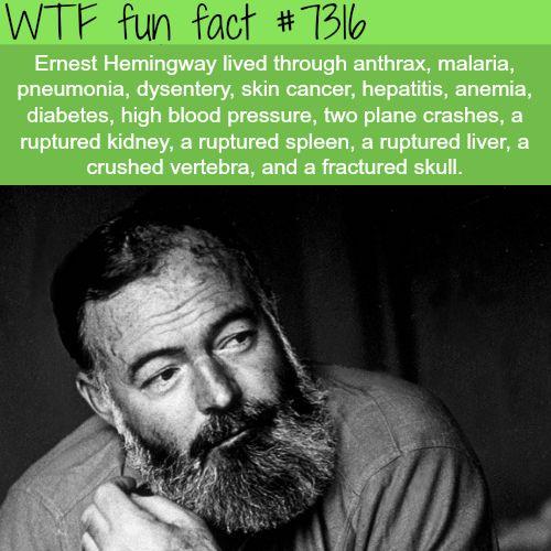 Ernest Hemingway – WTF fun fact #arthritisfacts – kiran