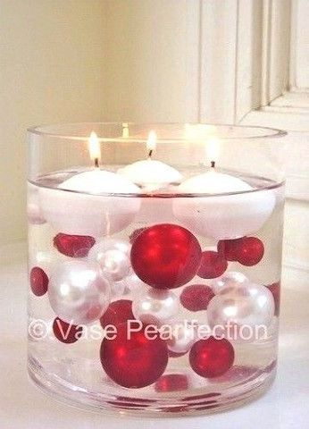 95 Jumbo/Assorted Sizes Red & White Pearls with Red & Crystal Gems Vase Fillers
