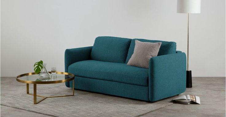 Fletcher, canapé-lit 3 places avec matelas à ressorts ensachés, bleu minéral | made.com