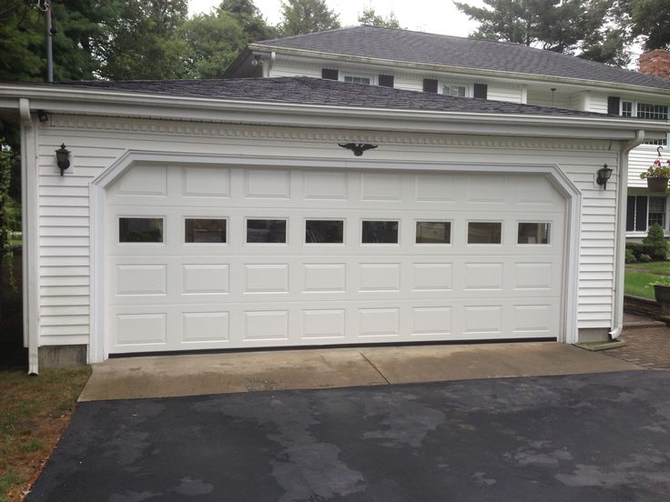 Haas Model 680 Steel Raised Panel Garage Doors In White With Plain Gl Installed By