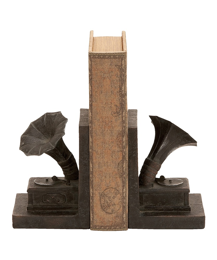 Gramophone Bookend Set