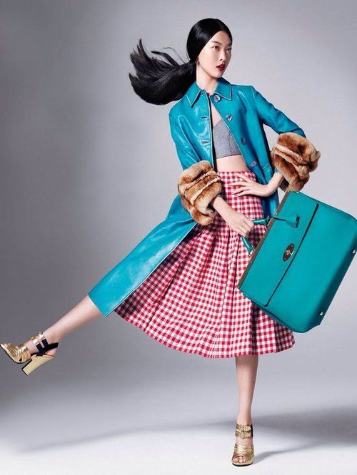 Pose, Color, Pattern, Texture  Tian Yi Wears New Season Fashions for Vogue China by Stockton Johnson.