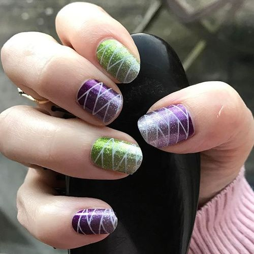 33 best green nails olive nails lime green nail designs images geometric green and purple nail design prinsesfo Choice Image