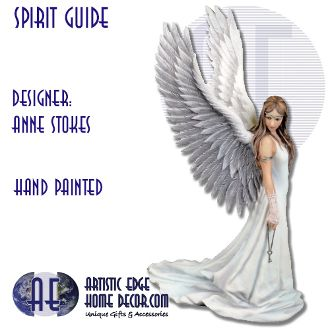 Anne Stokes - Spirit Guide  Spirit Guide features an elegant angel dressed in a long white dress standing on a beach in front of the sea. The sun on the horizon shines from behind her impressive wings. She holds a key by its chain in her right hand.  Beautifully hand painted resin figure  Comes with gift box  H: 24 cm Approx  Weight: 0.588Kg Approx