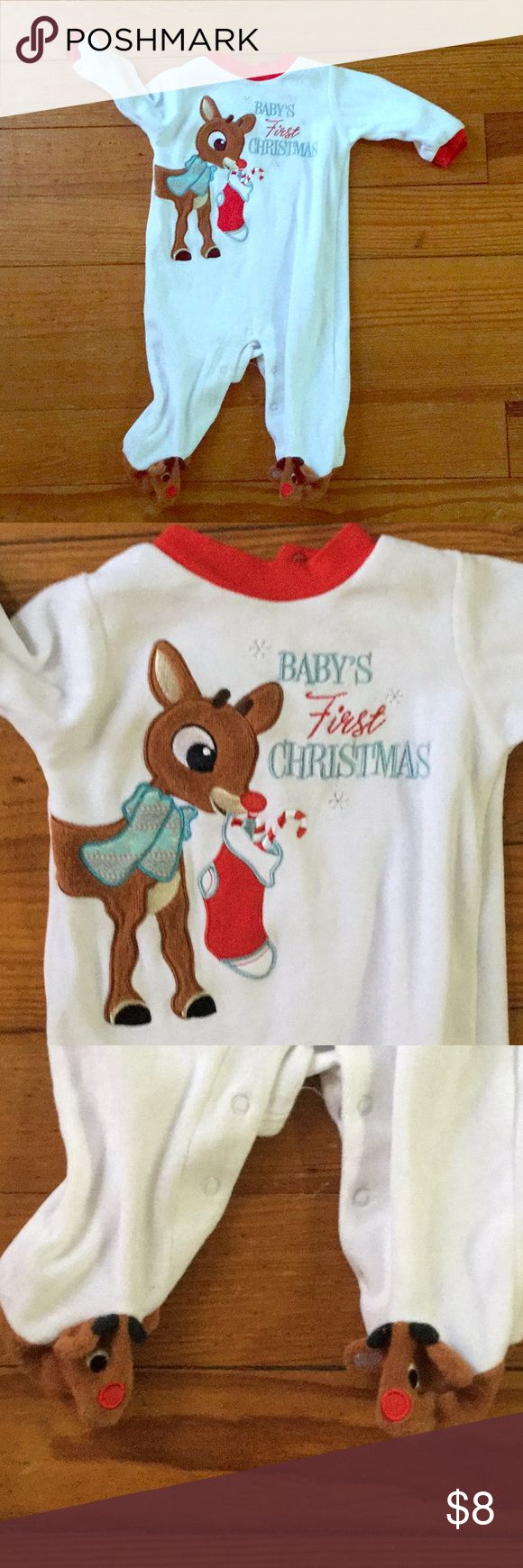 Baby's first Christmas 🎄 footie pajamas Like new baby's first Christmas footie pjs with reindeer feet. Size 6 Months . Order in time for Christmas 🎄 One Pieces Footies