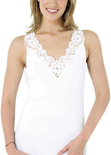 3d4333a935379e Damen Unterhemd mit Spitze aus reiner Baumwolle hergestellt nach ...