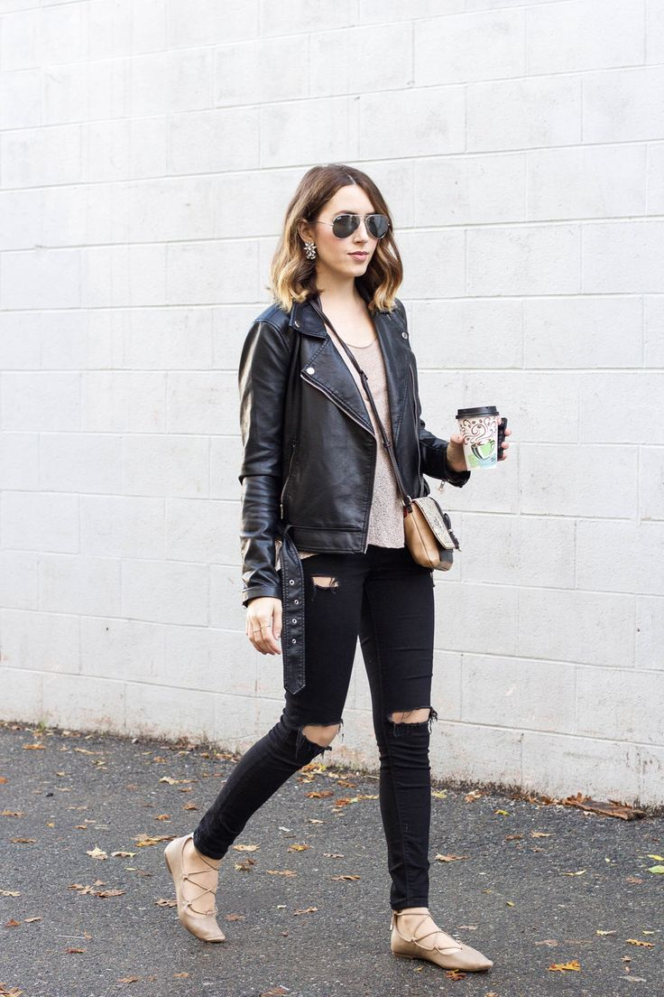 black-leather-jacket,-tan-top,-black-jeans,-nude-lace-up-flats