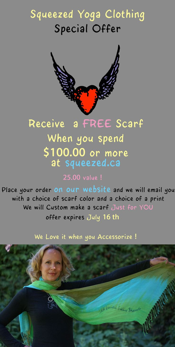 We Love it when you accessorize ! Spend $100 at http://squeezed.ca and we'll send you a custom made Scarf FREE ! offer expires July 16th 2014