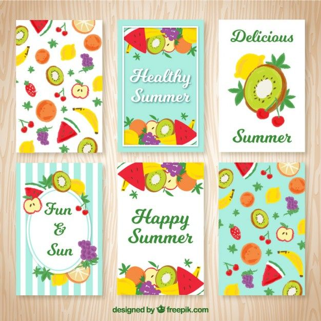 Hand painted fruits summer cards  Free Vector
