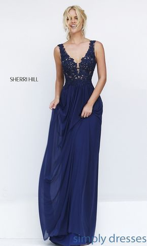 Shop Sherri Hill Long Prom Gowns at SimplyDresses. Lace Bodice floor length designer dresses for military ball or for formal parties.