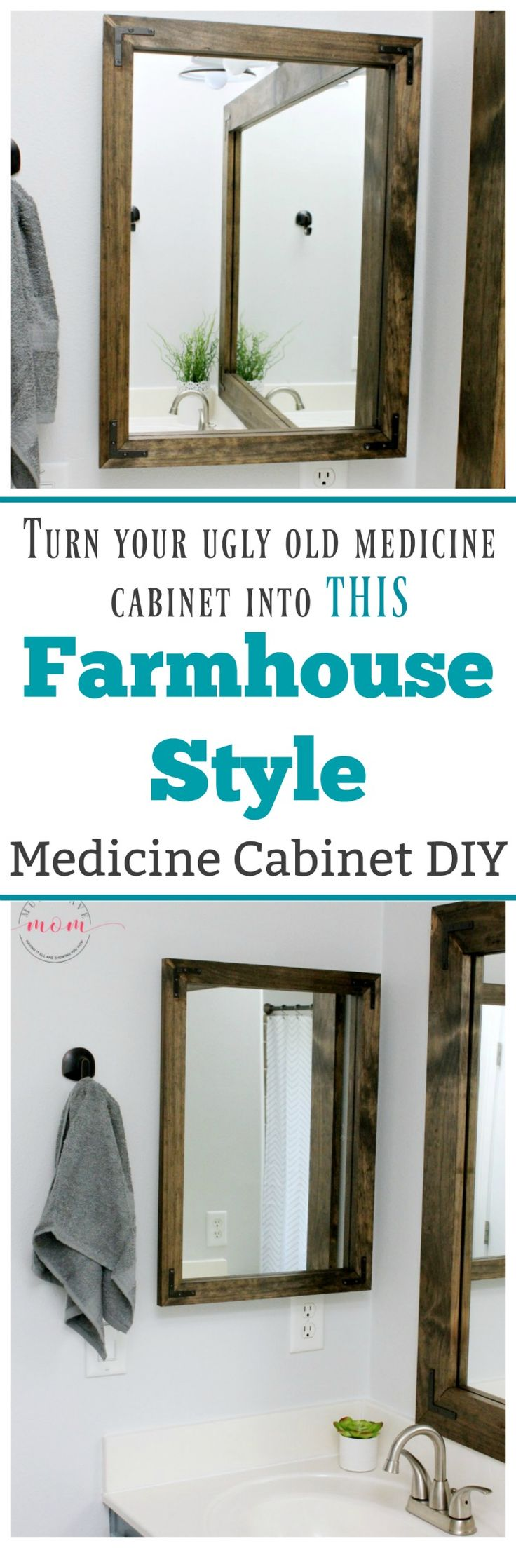 Turn your ugly medicine cabinet into this Farmhouse Style beautiful framed medicine cabinet for CHEAP!