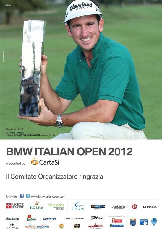 """Ecco la pagina di ringraziamento del comitato organizzatore del BMW Italian Open 2102 presented by CartaSì in uscita su """"La Gazzetta dello Sport"""".  Un grazio a tutti gli sponsor che hanno reso possibile il successo dell'open d'Italia di golf."""