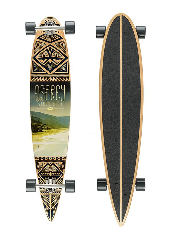 """OSPREY Longboard Coastline 46 his teardrop pintail shape is renowned for being extra responsive, extra stable and provides the most balance out of all of the various longboard shapes, making the Osprey Coastline Longboard Skateboard a perfect first longboard. The Coastline 46"""" Longboard deck has a mild concave to give you more control and to stiffen the flex of the board for added durability. The skateboard's generous width makes getting to grips with foot positioning that bit easier for…"""