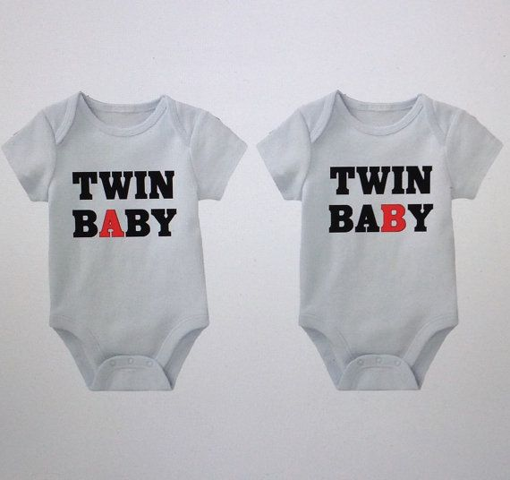 Twin Baby Onesies A B Funny For Twins Cute