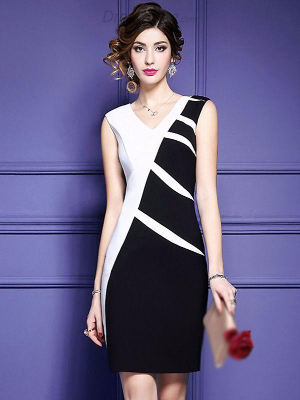 d24991527c Buy Fashion V-Neck Hit Color Bodycon Dress at DressSure.com