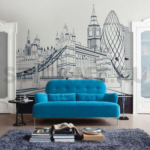 Большая виниловая наклейка Города мира - Лондон. Если Вы любите этот город, то именно для Вас мы создали новый городской дизайн наклейки на стену