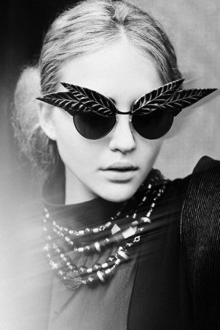 leaf sunglasses- have fun with fashion and i'd love to have a pair of sunglasses like that.