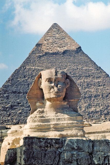 Sphinx, menschlicher Kopf auf Löwenkörper. Gizeh, Ägypten