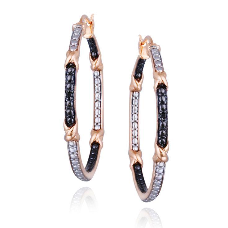 DB Designs Rose Gold And Diamond Hoop Earrings