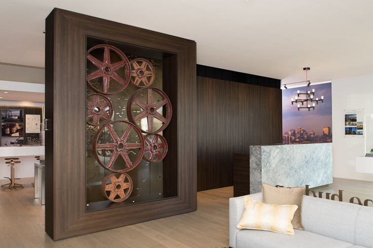 Navurban™ Burwood Decorative Panels installed at The Hudson Display Office, Albion Brisbane - Design Firm: DBI Design - Joiner: Mayneline Kitchens & Joinery