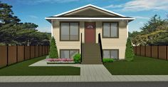 HOUSE PLAN 2013124 - SPLIT ENTRY BI-LEVEL FOR NARROW LOT - Great starter home.  Kitchen has large island overlooking dining room.  Separate side entrance for access to basement.