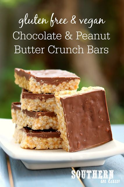 Make a family favorite a healthier treat with this recipe for Gluten Free Chocolate and Peanut Butter Crunch Bars - just like a Chocolate PB Rice Krispie Treat. They have no refined sugar and are gluten free, dairy free and vegan! Everyone will love them!