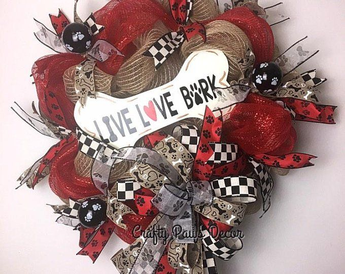 Dog wreath dog kisses wreath black /& white ribbons with red accents,