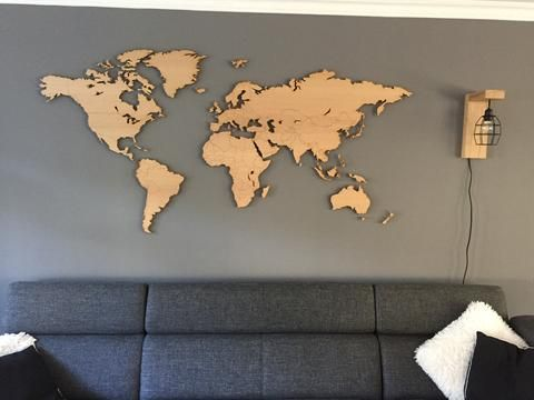 Ongekend eikenhouten wereldkaart van 200x100 cm 6mm dik hout aan de muur NI-63