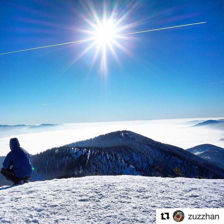 """Byť """"nad vecou"""" nemusí byť metafora  #praveslovenske od @zuzzhan  Suchy vcera nebol az taky """"suchy"""" #slovensko #malafatra #slovakia #suchy #magura #turiec #winter #snow #mountains #inversion #sky #sun #landscape #hill #nature #clouds #hiking #trees #forest"""