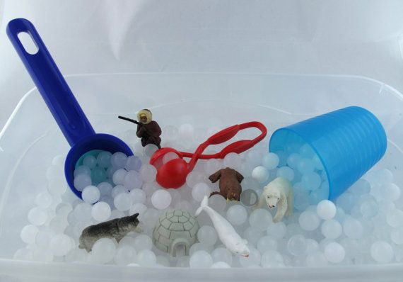 Frozen Sensory Bin Duo with White Water beads and instant snow- All Inclusive 2 in 1 Bin.