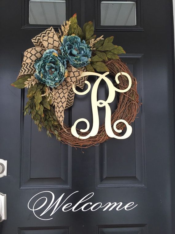 Blue Peony Black Chevron Monogram Wreath Everyday by jennyCmoon