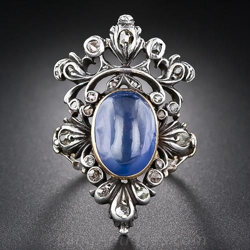 6.75 Carat Antique Sapphire and Diamond Ring - 30-1-5226 - Lang Antiques