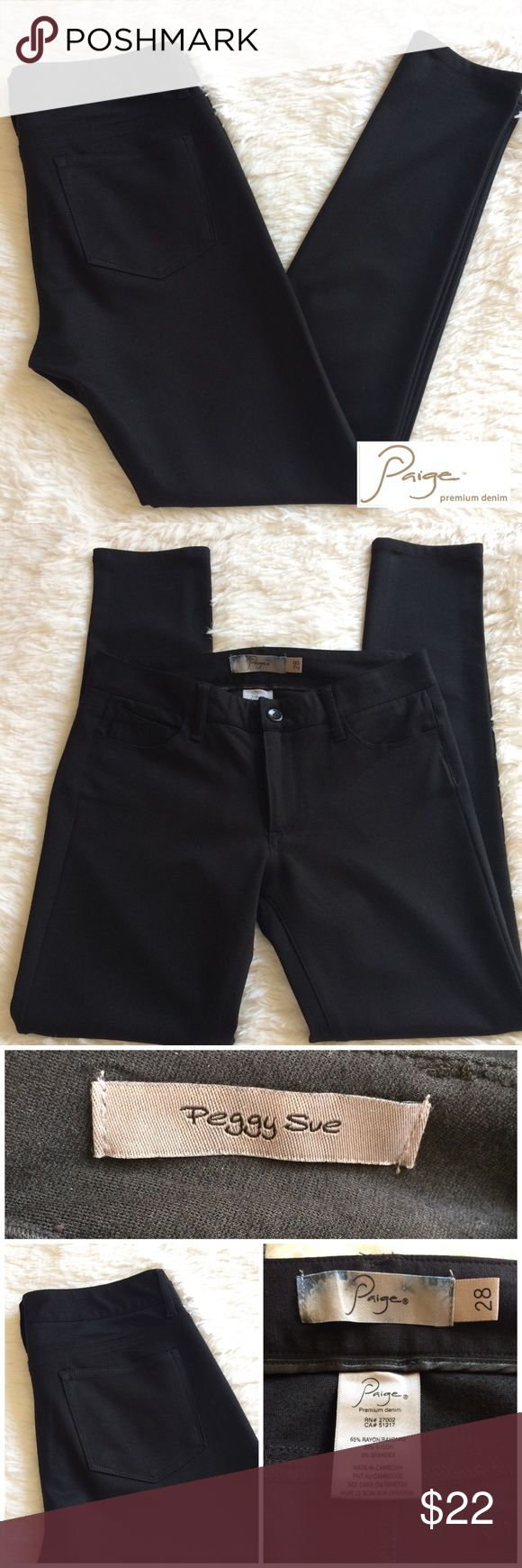 """[paige denim] 'peggy sue' stretch legging pants Stretch legging pants made by Paige Premium Denim🔹Peggy Sue (skinny) fit🔹Features 5 pockets with 5 belt loops🔹These are original length and have not been altered 🔹Approximate 29"""" inseam🔹Made of 65% rayon 30% nylon 5% spandex🔹In excellent condition with no rips, stains or tears and comes from smoke free home! 💕Create a bundle for the best value💕🚫NO TRADES🚫 Paige Jeans Pants Leggings"""