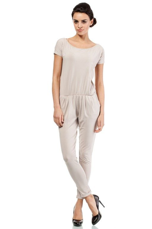 Women's long jumpsuit in beige with bare shoulders