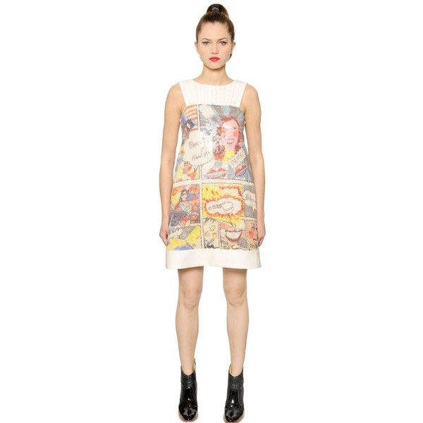 Tsumori Chisato Women Comic Printed & Sequined Twill Dress ($815) ❤ liked on Polyvore featuring dresses, multicolor, multi color sequin dress, sequin cocktail dresses, quilted dress, comic book and multicolor sequin dress