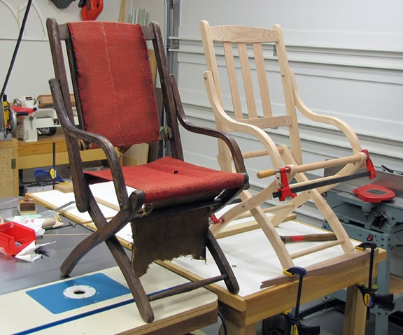 civil war officers' folding chair Camp furniture