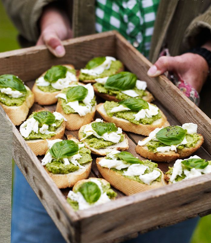 Recipe: Broad bean pâté on toast with torn Mozzarella, basil, & lemon oil | Yeo Valley | Supporting British Family Farms