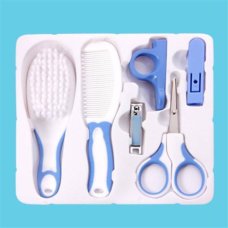 6PCS/Set Baby Health care Set Manicure Nail Clippers Comb Emery Hairbrush Thermo…
