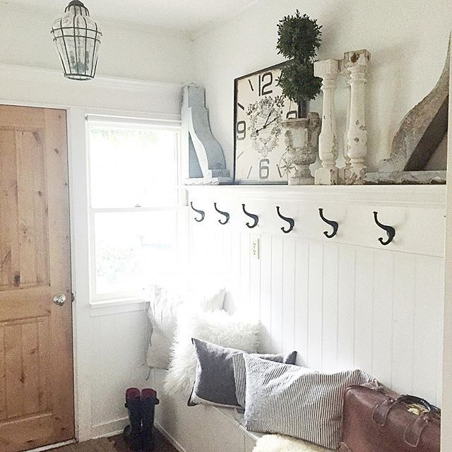 French Farmhouse Foyer : Ideas about entryway shelf on pinterest